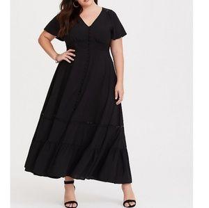 Torrid| Black Button Front Challis Maxi Dress